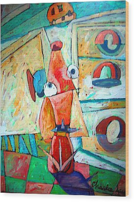 Cubist Cookie Wood Print by Charlie Spear