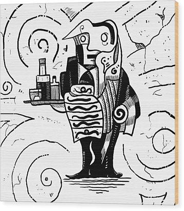 Cubist Waiter Wood Print