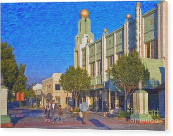 Wood Print featuring the photograph Culver City Plaza Theaters   by David Zanzinger