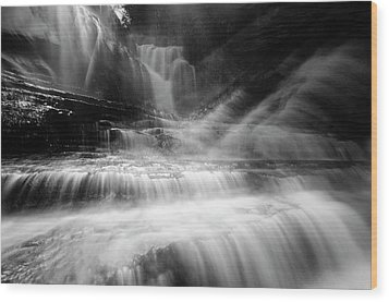 Cummins Falls In Black And White Wood Print