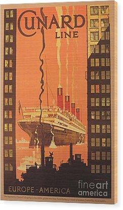 Cunard Ocean Liner Poster Wood Print