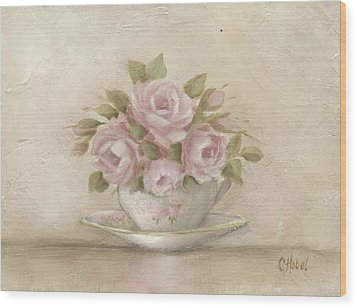 Cup And Saucer  Pink Roses Wood Print by Chris Hobel