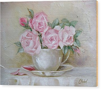 Wood Print featuring the painting Cup And Saucer Roses by Chris Hobel
