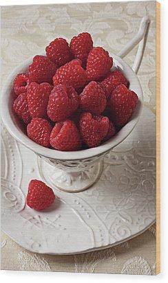 Cup Full Of Raspberries  Wood Print by Garry Gay