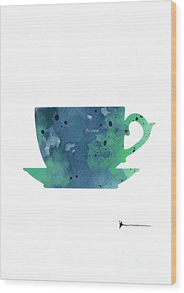 Cup Of Tea Painting Watercolor Art Print Wood Print by Joanna Szmerdt