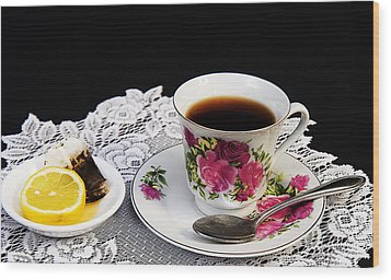 Cup Of Tea Please Wood Print by Trudy Wilkerson