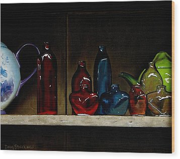 Cupboard Bottles Wood Print by Doug Strickland