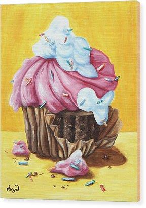 Cupcake Wood Print by Maryn Crawford