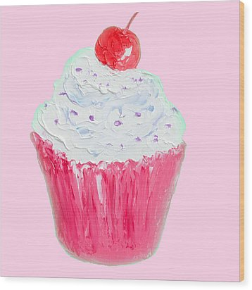 Cupcake Painting On Pink Background Wood Print by Jan Matson