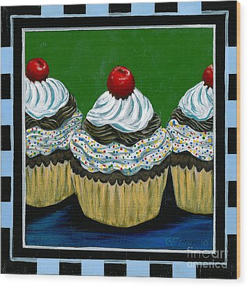 Cupcakes With A Cherry On Top Wood Print by Gail Finn