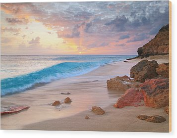 Cupecoy Beach Sunset Saint Maarten Wood Print