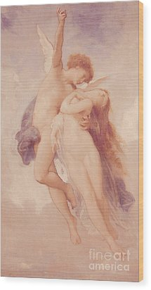 Cupid And Psyche Wood Print by William Adolphe Bouguereau