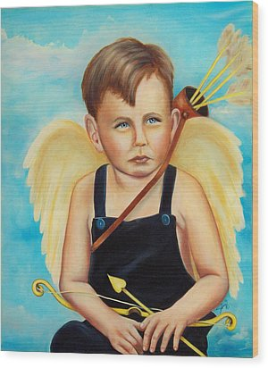 Wood Print featuring the painting Cupid by Joni McPherson