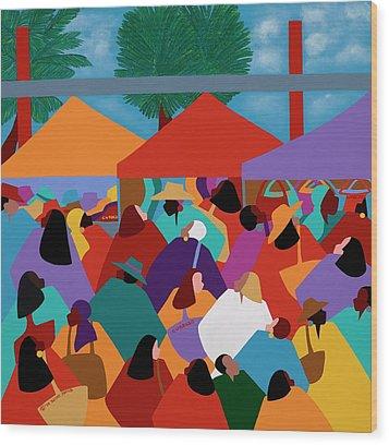 Curacao Market Wood Print