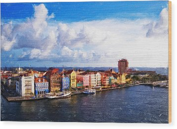 Curacao Oil Wood Print by Dean Wittle