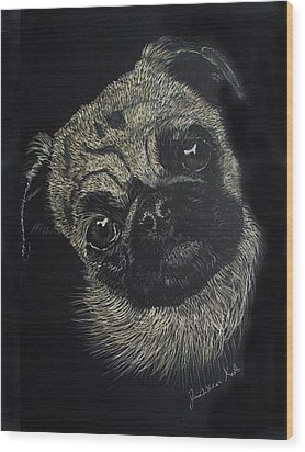 Curiosity Of The Pug Wood Print by Jessica Kale