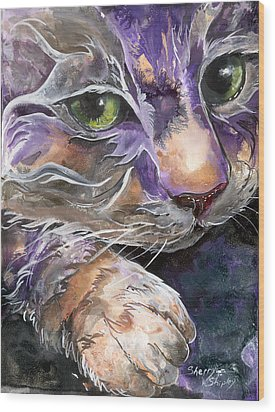 Wood Print featuring the painting Curiosity by Sherry Shipley