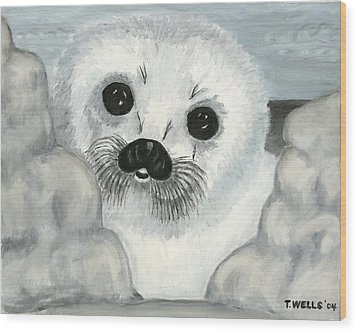 Curious Arctic Seal Pup Wood Print by Tanna Lee M Wells