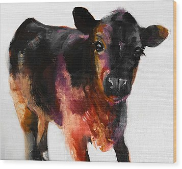 Buster The Calf Painting Wood Print