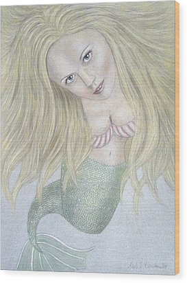 Curious Mermaid - Graphite And Colored Pastel Chalk Wood Print by Nicole I Hamilton