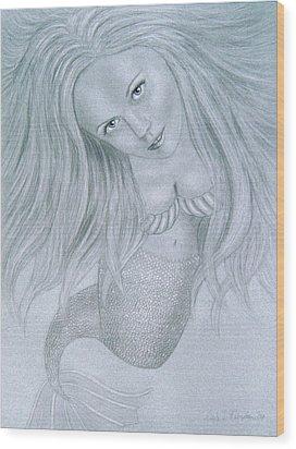 Curious Mermaid - Graphite And White Pastel Chalk Wood Print by Nicole I Hamilton