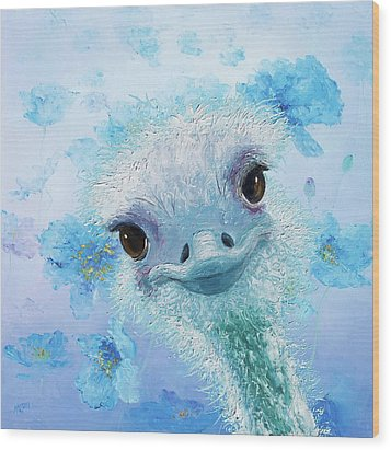 Curious Ostrich Wood Print by Jan Matson