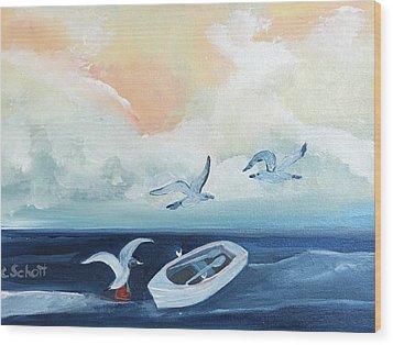 Curious Seagulls Wood Print
