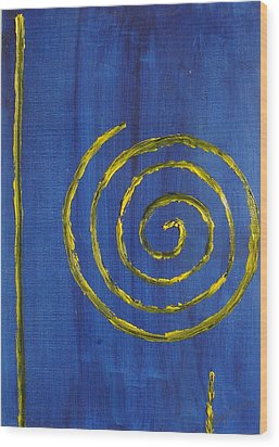Curlicue Yellow Wood Print by Roger Cummiskey