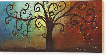 Curly Branches Tree Wood Print by Elaine Hodges