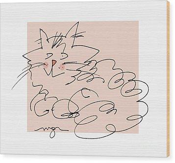 Curly Cat Wood Print