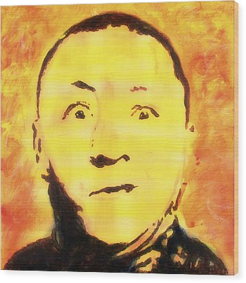 Wood Print featuring the painting Curly Howard Three Stooges Pop Art by Bob Baker