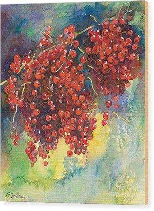 Currants Berries Painting Wood Print by Svetlana Novikova