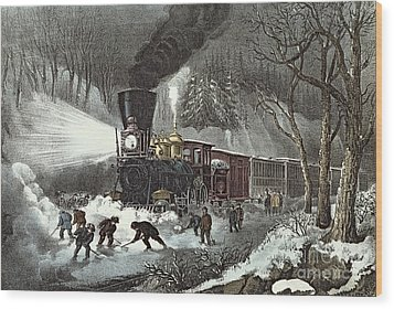 Currier And Ives Wood Print by American Railroad Scene