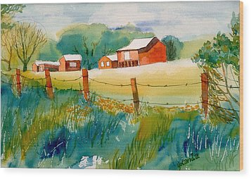 Wood Print featuring the painting Curtis Farm In Summer by Yolanda Koh