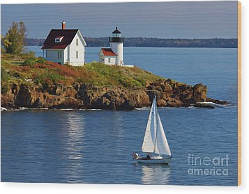 Curtis Island Lighthouse - D002652b Wood Print