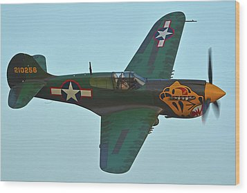 Wood Print featuring the photograph Curtiss P-40k Warhawk N401wh Chino California April 29 2016 by Brian Lockett