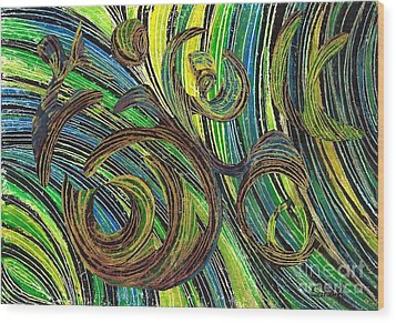 Curved Lines 4 Wood Print by Sarah Loft