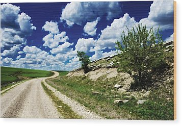 Curving Gravel Road Wood Print