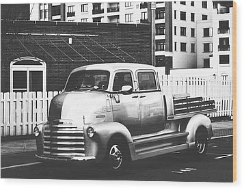 Wood Print featuring the photograph Custom Chevy Asbury Park Nj Black And White by Terry DeLuco