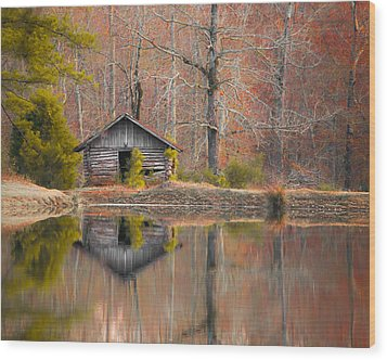 Custom Crop - Cabin By The Lake Wood Print by Shelby  Young