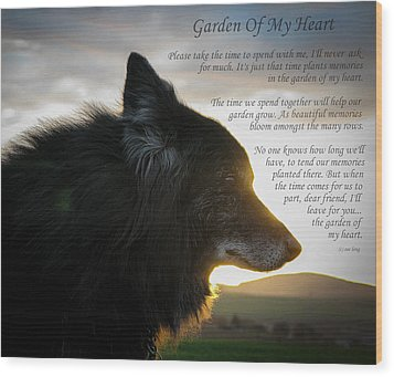 Custom Paw Print Garden Of My Heart Wood Print