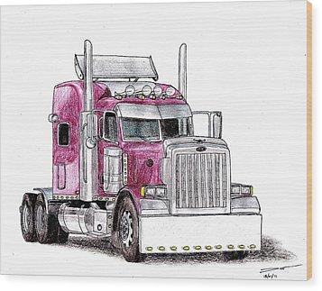 Custom Peterbilt Truck Cab Wood Print by Dan Poll