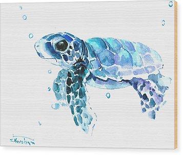 Cute Baby Turtle Wood Print