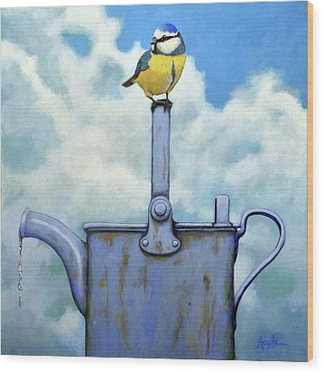 Wood Print featuring the painting Cute Blue-tit Realistic Bird Portrait On Antique Watering Can by Linda Apple