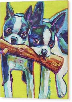 Cute Boston Terriers Wood Print