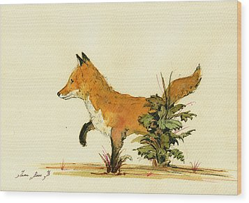 Cute Fox In The Forest Wood Print by Juan  Bosco