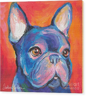 Cute French Bulldog Painting Prints Wood Print by Svetlana Novikova
