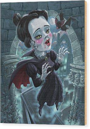 Wood Print featuring the digital art Cute Gothic Horror Vampire Woman by Martin Davey