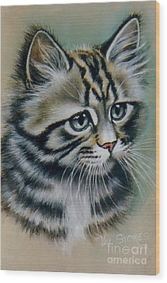Cute Kitten Wood Print by Val Stokes