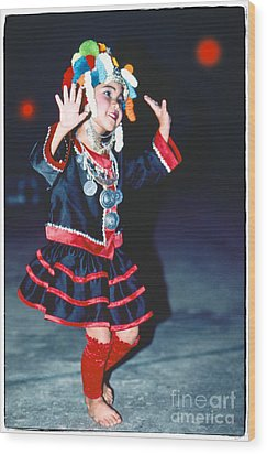 Wood Print featuring the photograph Cute Little Thai Girl Dancing by Heiko Koehrer-Wagner